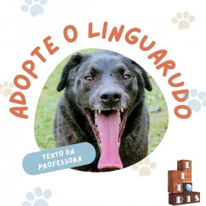 """""""Este é o cão da professora. Se eu tivesse que dizer a alguém para adoptar o Linguarudo, seria porque ele dá grandes beijocas.  Está a precisar de uma dieta, por isso é óptimo companheiro para caminhadas.  As patas da frente são brancas, por isso já tem sapatos da frente - ou pelo menos tem meias para os sapatos."""""""